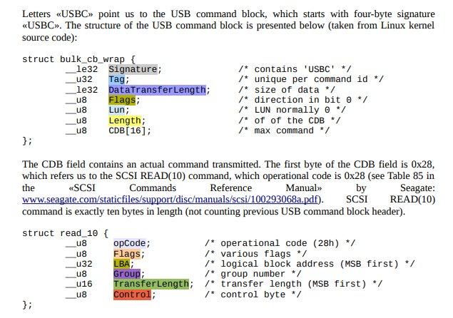 USBC string originates in USB Command Block