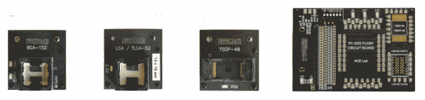 Adapters voor verschillende NAND chips. Monolith adapter kan i principe elke NAND chip aan mits pin-out bekend is.